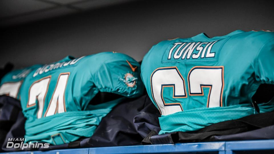 Our jerseys ahead of the opener against L.A. - Contributed by Miami Dolphins' PR
