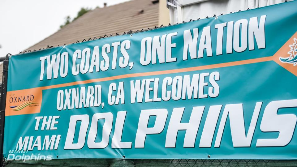 The sign outside of our temporary facility in Oxnard, Calif. - Contributed by Miami Dolphins' PR